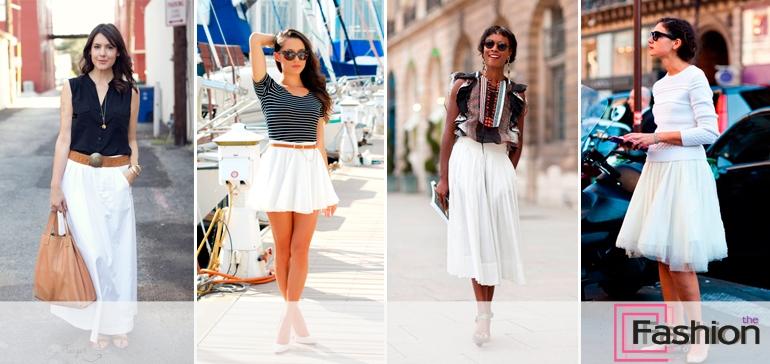 Белая юбка с кружевом с чем носить