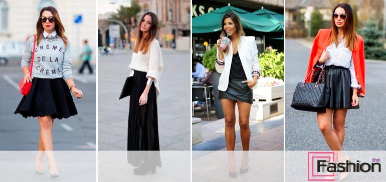 Черная бархатная юбка с чем носить