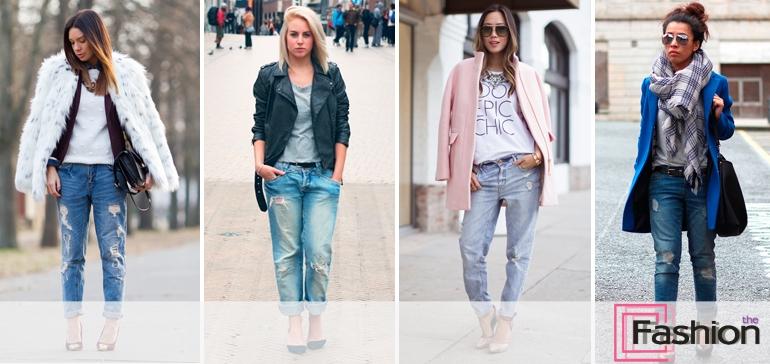 С чем носить джинсы-бойфренды