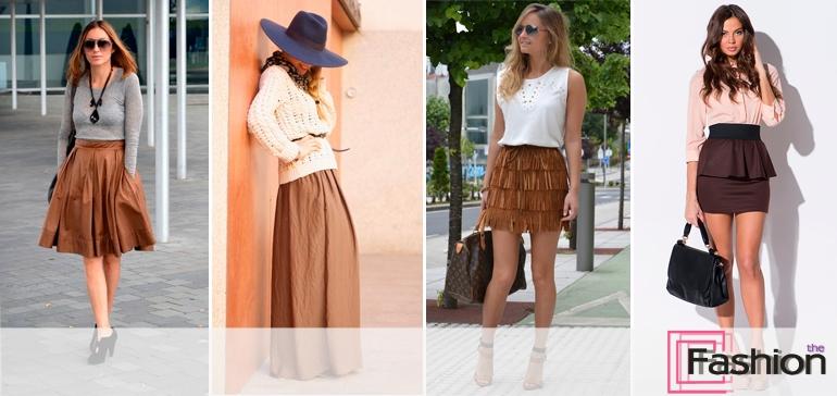 С чем одеть юбку коричневого цвета