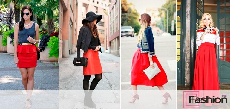 Модели фото в красной юбке и чулках нарезки
