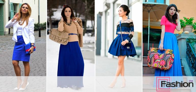 Что носят под синюю юбку