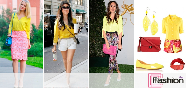 С чем носить желтую блузку