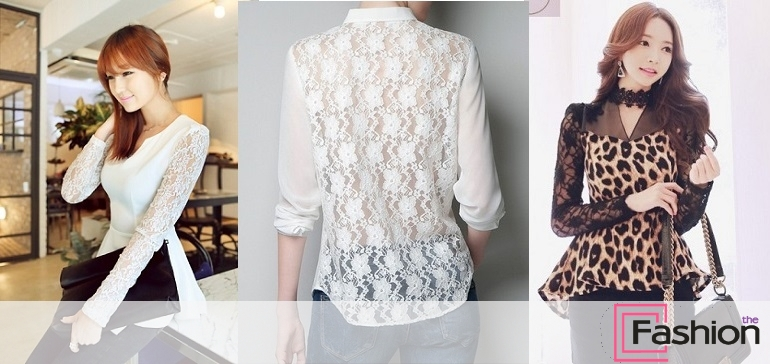 Блузки с кружевом - фото