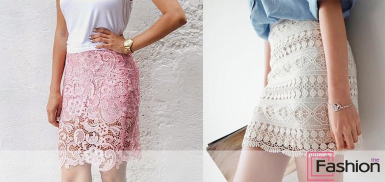 Розовая ажурная юбка