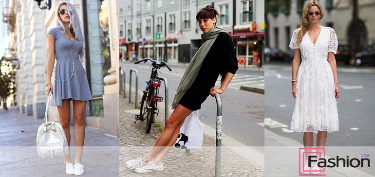 Платье с кроссовками и кедами: фото и доступные уроки моды для стильных дам